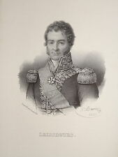 Litho PORTRAIT AMIRAL LEISSEGUES NAPOLEON EMPIRE MARINE BRETAGNE CAMFROUT 1835