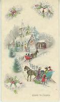 VINTAGE CHRISTMAS CHURCH VICTORIAN CHILD GIRL TREES BELLS MISTLETOE CARD PRINT