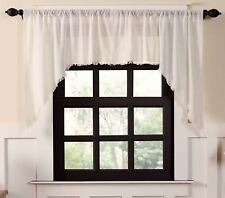 Window Swag Vintage-Style Antique White Rustic Tobacco Cloth Fringed Edge
