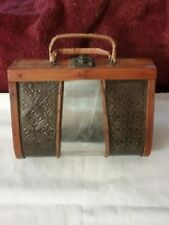 Vintage Handmade Wood And Metal Purse 7 by 5 inches preowned