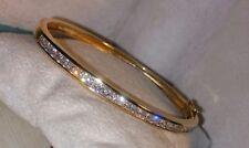 Ross Simons 18k Yellow Gold verm/Sterling silver princess cut CZ Bangle Bracelet