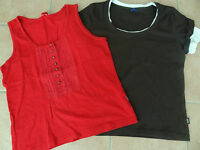 2 kurzarm T-Shirt L 40-42-44 CECIL WISSMACH rot beige-braun ärmelloses Top