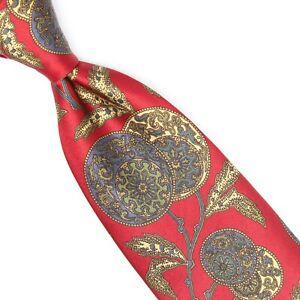 Gant Mens Silk Necktie Red Green Blue Champagne Floral Paisley Smooth Print Tie