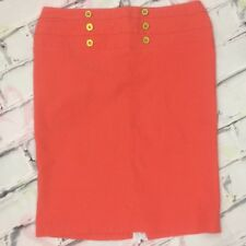 Silhouette NYC Pencil Skirt Size XL Coral Stretch Gold Tone Buttons Style #3137