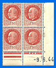 Lot France 1.50 Franc Petain 4 stamps in corner with date 1944 unused Free Ship