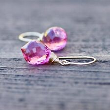 Bright Pink Topaz Chandelier Briolette Earrings 14K Yellow Gold Filled , October