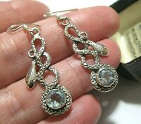 Vintage Style STERLING SILVER Natural Blue Topaz Gem Snake Jewellery EARRINGS