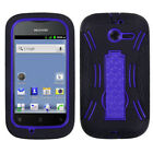 For Huawei Ascend Y H866C  Impact Hard Rubber Case Cover Kick Stand Black Purple