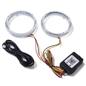 2x 80mm RGB LED Angel Eye Ring Halo Lights Lamps DRL Headlight Bluetooth APP