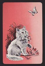 1 Single VINTAGE Swap/Playing Card CAT KITTEN BUTTERFLY FLOWERS Orange