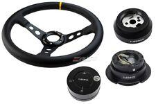"NRG 350 3"" DP Steering Wheel Leather BK St YW 170H Hub G2.5 BK Release Lock LB a"