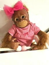 "16"" Reborn Baby Orangutan Monkey Bindi ~ w/ Magnetic Binky, Outfit, & Blanket"