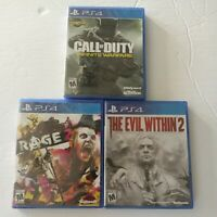 Lot Of 3 Sony PlayStation 4 PS4 Games: Call of Duty, Rage 2, The Evil Within 2