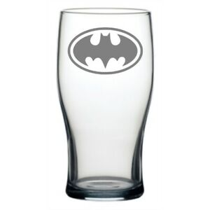 PERSONALISED LASER ENGRAVED BATMAN LOGO PINT GLASS WITH YOUR NAME / MESSAGE