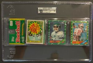 1986 Topps Jerry Rice Rookie card on Top & Steve Largent Rack Pack graded GAI 9
