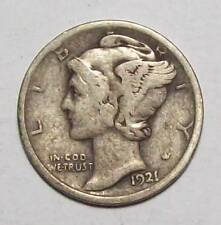 1921-D MERCURY DIME  Tough Semi-Key Date   Original  Fine   *Free U.S. Ship