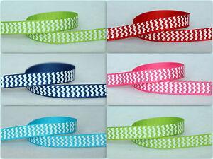 5yds~~10mm Chevron Printed Grosgrain Ribbon 5 Colours U PICK