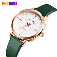 SKMEI Women's Ladies Simple Quartz Analog Dress Genuine Leather Band Wrist Watch