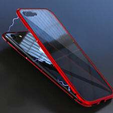 2018 Magnetic Adsorption Phone Case fr iPhone X 7 Plus Clear Tempered Glass Back