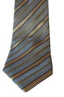 Geoffrey Beene Mens Tie 100% Silk Hand Made Striped Necktie Neckwear Blue Gold