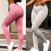 Womens Scrunch Push Up Leggings Trousers Anti-Cellulite Sports Yoga Pants Ruched