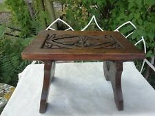 Antique Victorian Carved Oak Foot Stool Sweetheart Hearts Country Crafted C1880