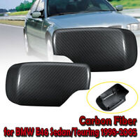 2x Carbon Fiber Mirror Cover Caps Set For BMW E46 E39 325i 330i 525i 530i 540i