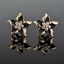 Contemporary Enameled Black Flower Leverback Earrings w/ Rhinestone Accents