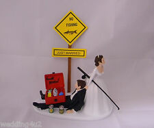 Wedding Reception Party Dark Hair Couple Beer Drunk Tackle Box Cake Topper
