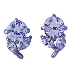 Womens Silver diamond crystal Stud Earrings 14K Gold Filled free shipping