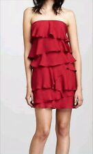 BCBG GINGER SHORT MINI STRAPLESS TIERED RUFFLED DRESS RED BERRY - US 8