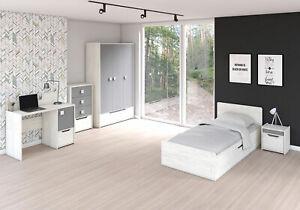Kinderzimmer-Set SMILO Kindermöbel Eiche Craft Weiß/ Grau Matt ohne Matratze
