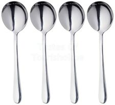 4 x Masterclass Solid Polished Stainless Steel Round Soup Spoons