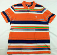 Chaps Mens L Large Polo Shirt Orange White Blue Green Striped Embroidered Logo