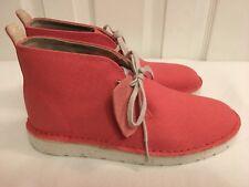 CLARKS Originals Ladies Aerial Coral Canvas Ankle Desert  Boots Size UK 4.5 D BN