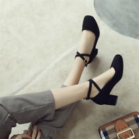 Fashion Women's Ankle Strap Chunky Heels Round Toe Pumps Faux Suede Casual Shoes