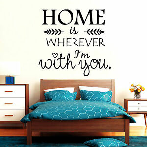 10840 Wandtattoo Loft Aufkleber Home is wherever I´m with you Spruch Zitat Herz