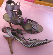 Marks & Spencer Autograph UK4.5 EU37.5 US6.5 new leather pewter strappy sandals