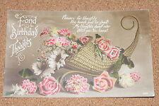 Vintage Postcard: Birthday Greeting, Horn Basket full of Flowers, 1917