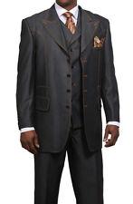 Men's Fashionable Denim Look Wool Feel Suit with Collared Vest Black/Navy 38~60