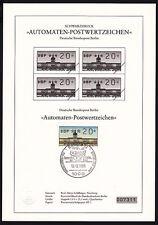 Berlin ATM-Sonderblatt mit Marke und Schwarzdruck im Viererblock