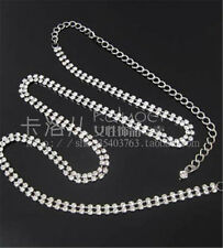 New Fashion 1Pc 2Rows Long Silver Crystal Rhinestone Waist Chain Belt N33