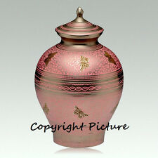 Pink Aesthetic Butterfly Cremation Urn, Adult, Brass, ~New - Free Shipping