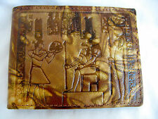 Egyptian Genuine Leather Men Wallet Brown Khensu Horus Pharaoh Design #195