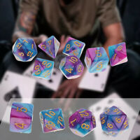 7Pcs D4-D20 Polyhedral Dice Set for DND TRPG MTG Party Game Toy Purple Blue US