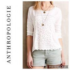 NWT Anthropologie Meadow Rue Tayrona Lace Top 3/4 Sleeve Crochet White Shirt XS
