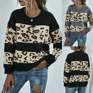 Round Neck Leopard Print Stitching Long Sleeve Sweater Women Blouse Top Pullover
