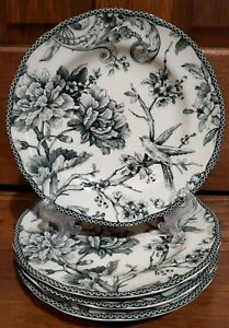 222 Fifth Floral/Bird Salad Plates Set of 4 Fine China NEW! Fast Ship! BEAUTIFUL