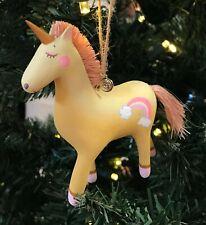 GLITTERVILLE YELLOW RAINBOW UNICORN HORSE PINK RAFIA STRAW MANE TAIL CAKE TOPPER