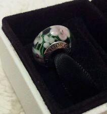 Genuine Pandora Murano Glass Charm Bead Wild Light Pink Flowers S925 ALE